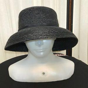 Gossemer Black Straw Hat Betmar NY One Size